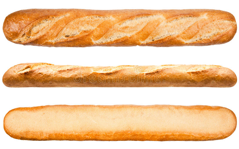 Download Long Loaf French Bread Isolated On The White Background Stock Photo
