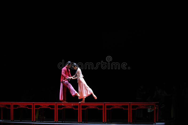 The long love road-The first act of dance drama-Shawan events of the past. Guangdong Shawan Town is the hometown of ballet music, the past focuses on the royalty free stock image