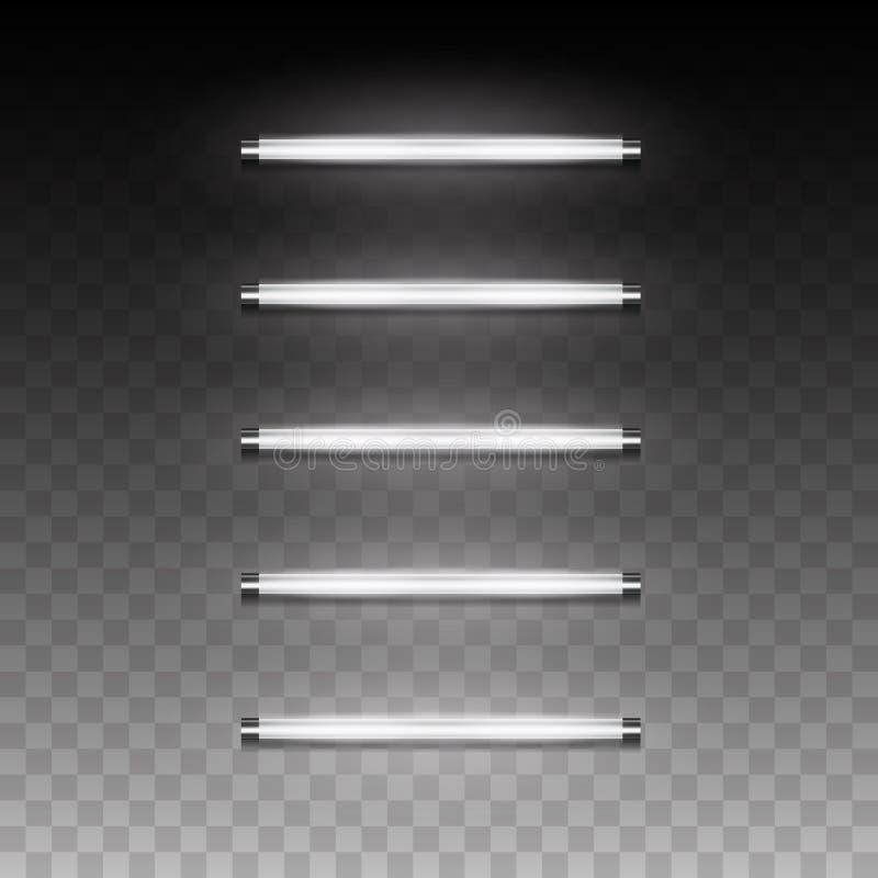 Long luminescence fluorescent energy saving lamp of daytime scat. 3d realistic vector long luminescence fluorescent energy saving lamp of daytime scattered light vector illustration