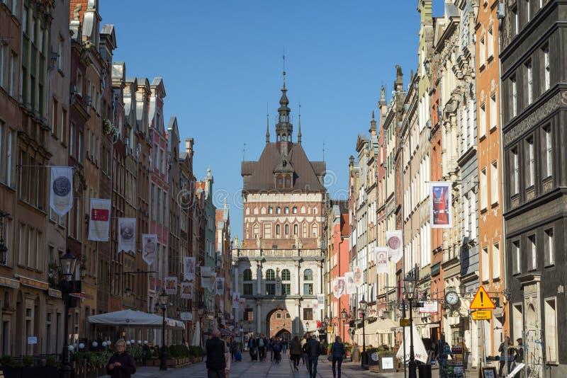 Long Market Street Long Lane in Gdansk stock photo