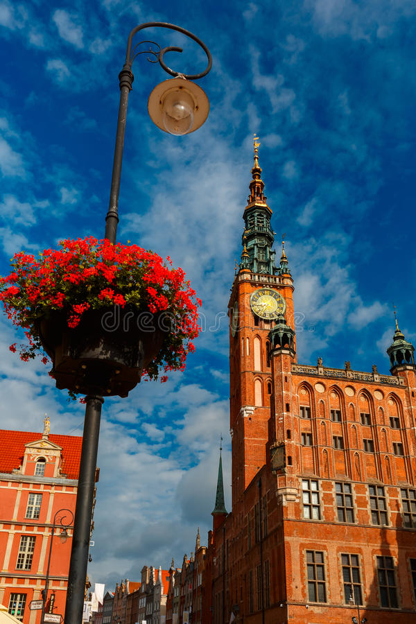 Long Market Street with Town Hall, Gdansk, Poland stock images