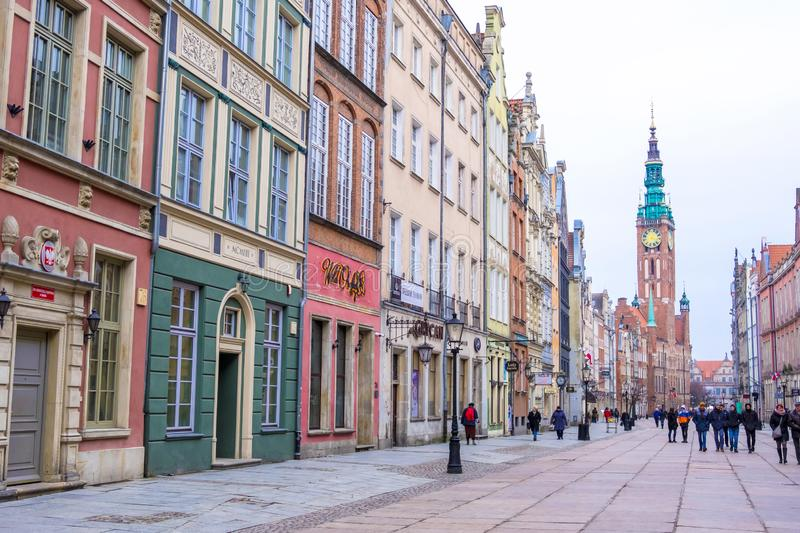 Long Market Street, typical decorative medieval tenement houses, Royal Route, Gdansk, Poland royalty free stock image
