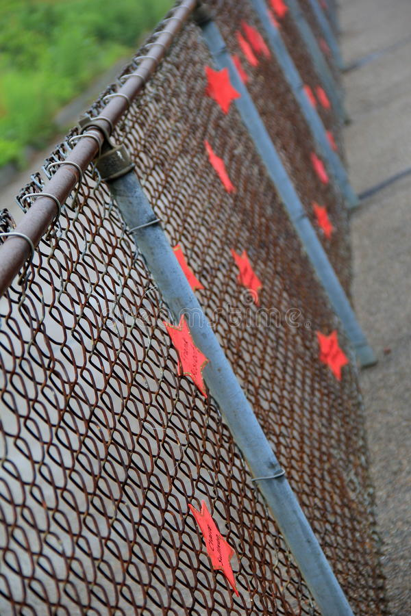 Long metal fencing with stars of survivors names,Cancer's Relay For Life, Franklin, Mass,June 2014 stock photos