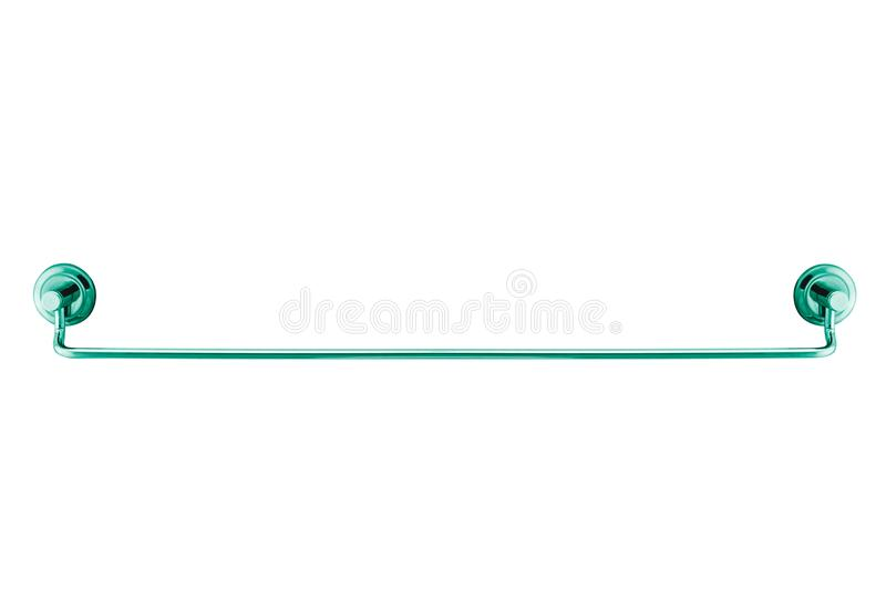 Long metal towel rack isolated. On white royalty free stock photos