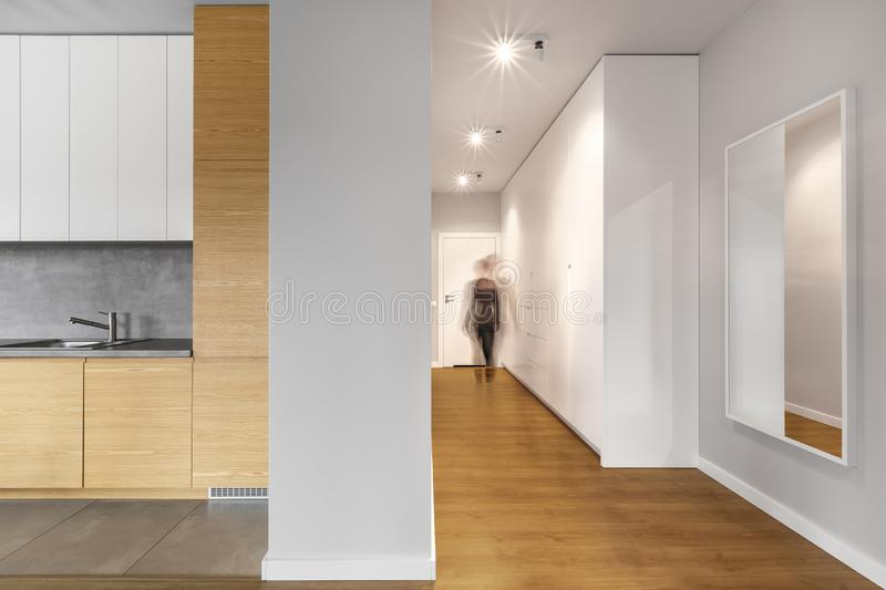 Long and modern white hallway stock image