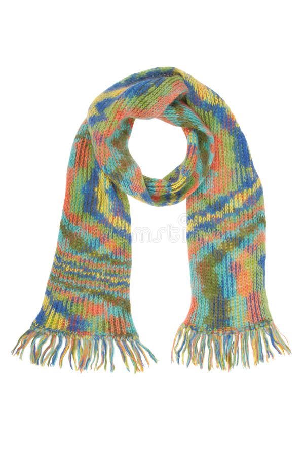 Long multicolored scarf with fringe stock images