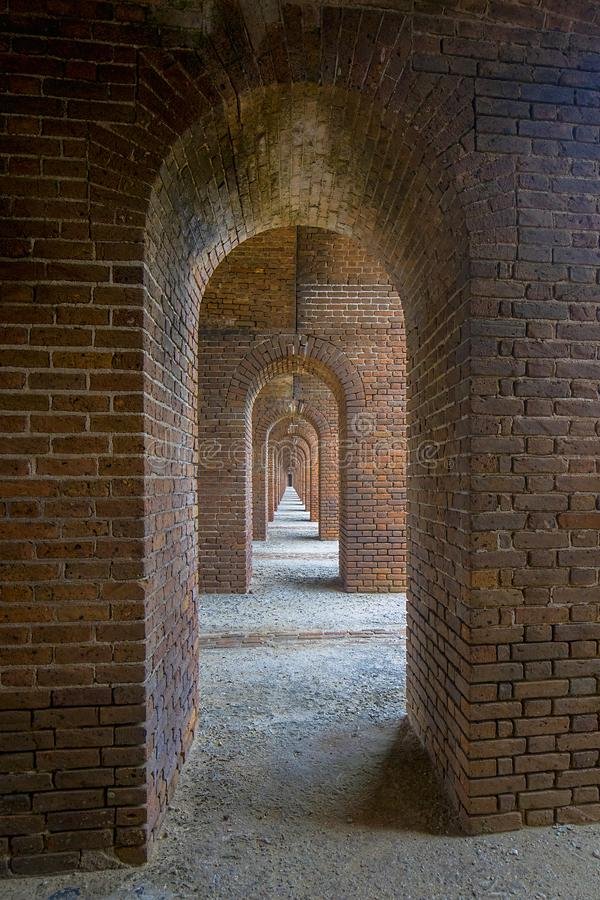 Long, Narrow Archway Tunnel at Fort Jefferson stock photography