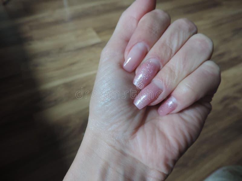 Long natural gel nails stock image. Image of natural - 119635629