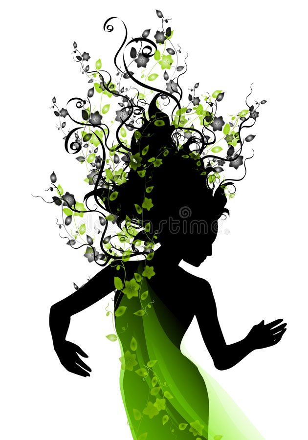 Long Natural Hair Vines vector illustration