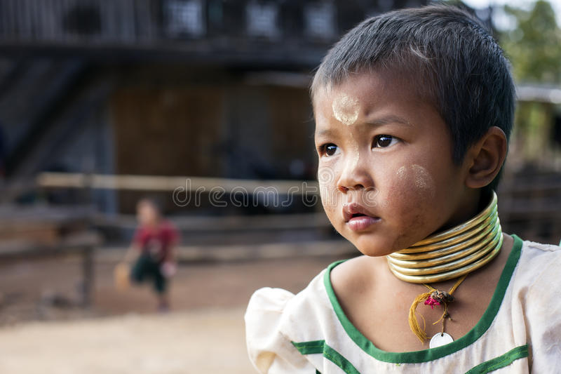 Long-Neck Child, Myanmar stock images