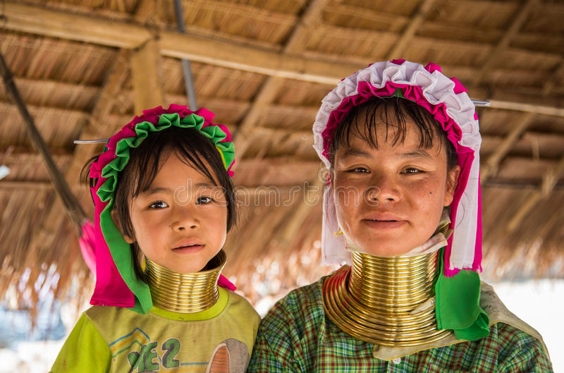 Long Neck Lady. Chiang Mai, Thailand - April 6, 2015: Long neck lady. Kayan Lahwi tribe known for wearing neck rings, brass coils to extend the neck. Kayan, Red