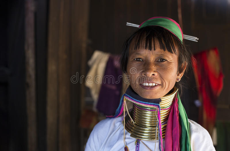 Long-Neck Woman, Myanmar. Loikaw, Myanmar-January 23, 2016. A portrait of a woman from the Padaung tribe (Karen). The ladies are famous for wearing large brass stock photos