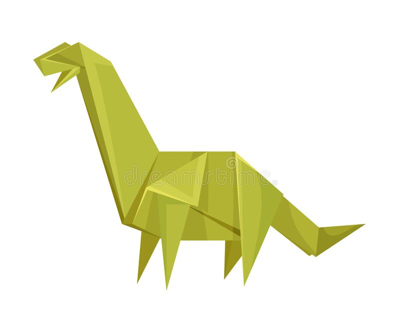 Long-necked Dinosaur Origami Figure Vector Illustration. Art of Paper Folding Concept. Creative Craft for Adults and Kids vector illustration