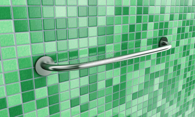 Long New Stainless Steel Towel Holder Rack. 3d Rendering.  stock photo