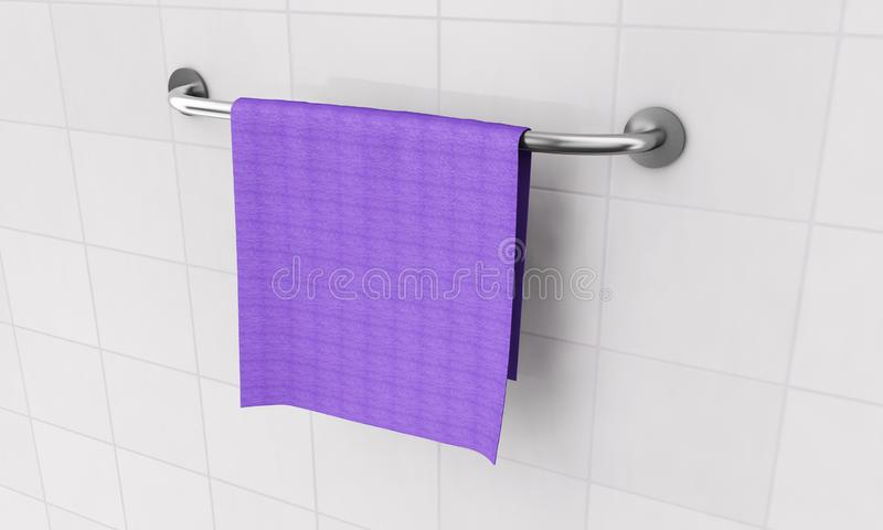 Long New Stainless Steel Towel Holder Rack. 3d Rendering.  stock image