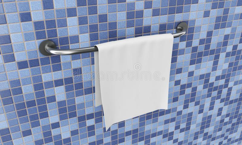 Long New Stainless Steel Towel Holder Rack. 3d Rendering.  royalty free stock photos