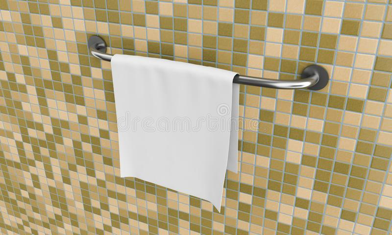 Long New Stainless Steel Towel Holder Rack. 3d Rendering.  royalty free stock photo