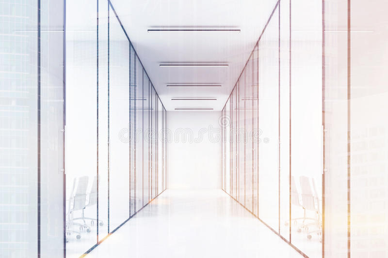 Long office corridor with glass walls. There are several conference rooms in it and. Concept of a successful company. 3d rendering. Toned image. Double stock illustration