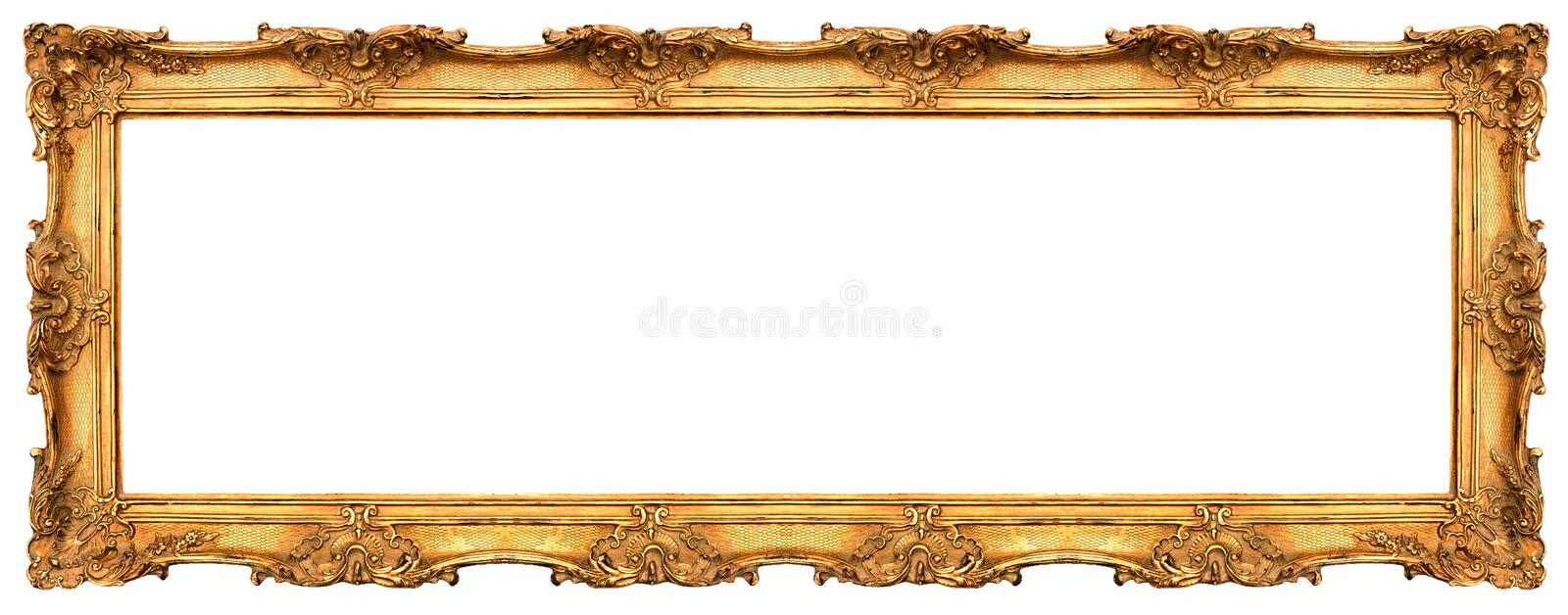 Long old golden frame isolated on white royalty free stock photos