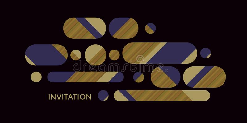 Long oval trendy geometric shapes abstract concept. Composition for card, header, invitation, poster, social media, post publication. Assorted circles geometry vector illustration