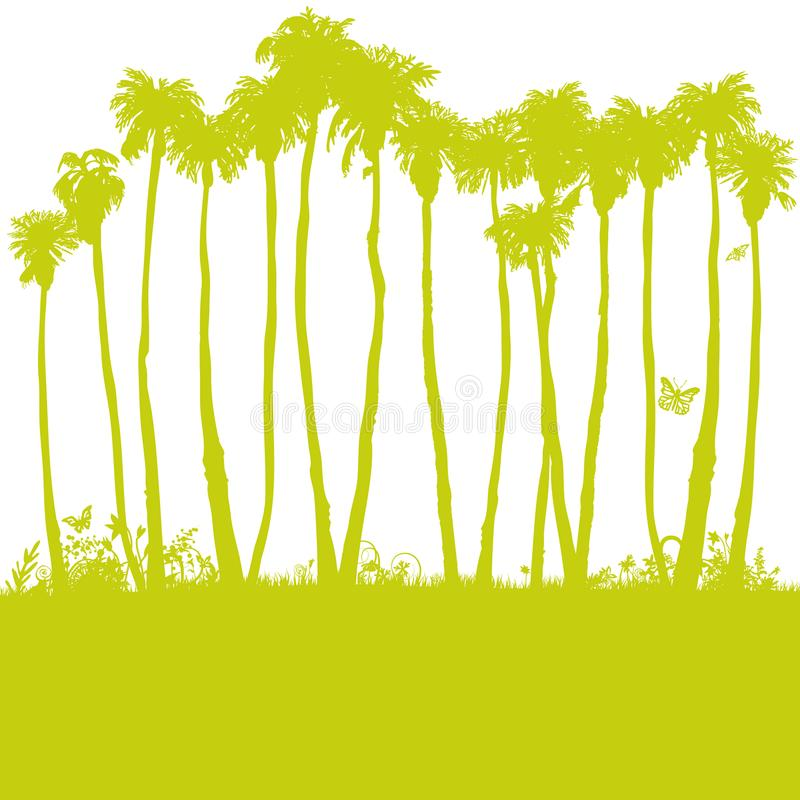 Long palm trees in the sun. Long palm trees in the hot sun stock illustration