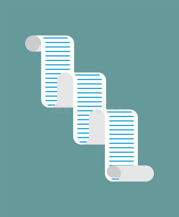 Long paper list isolated. Lots of items. to-do list Cartoon style vector.  vector illustration