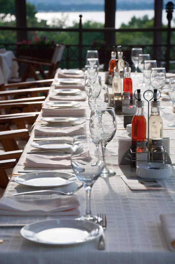 Download Long party table outdoor stock photo. Image of cafe, celebration - 14804198