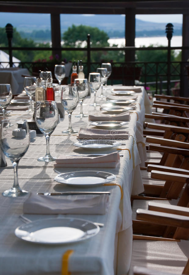 Download Long party table outdoor stock image. Image of curtain - 14804199