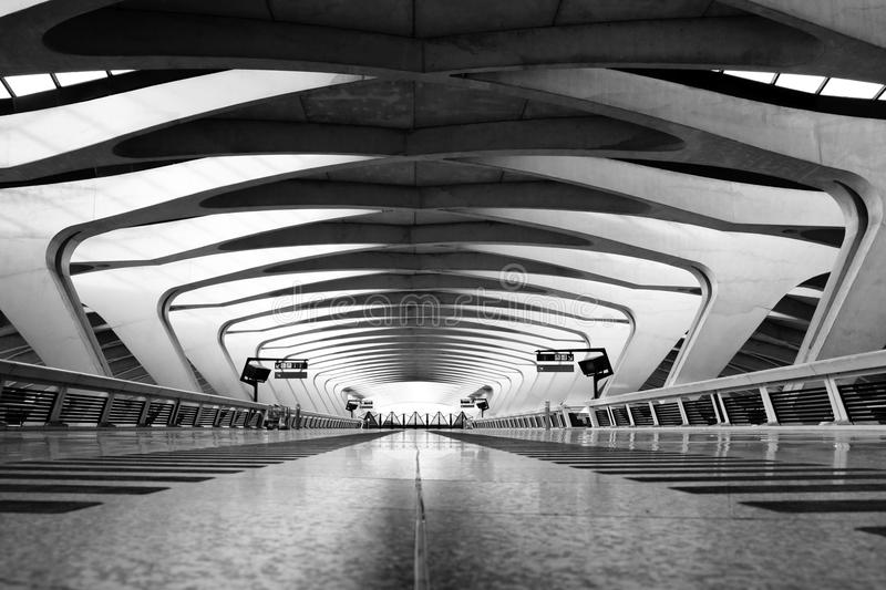 Long Passage Way - Modern Architecture. Modern Architecture: Long Passage Way at Train Station at Saint-Exupery Airport, Lyon, France royalty free stock images