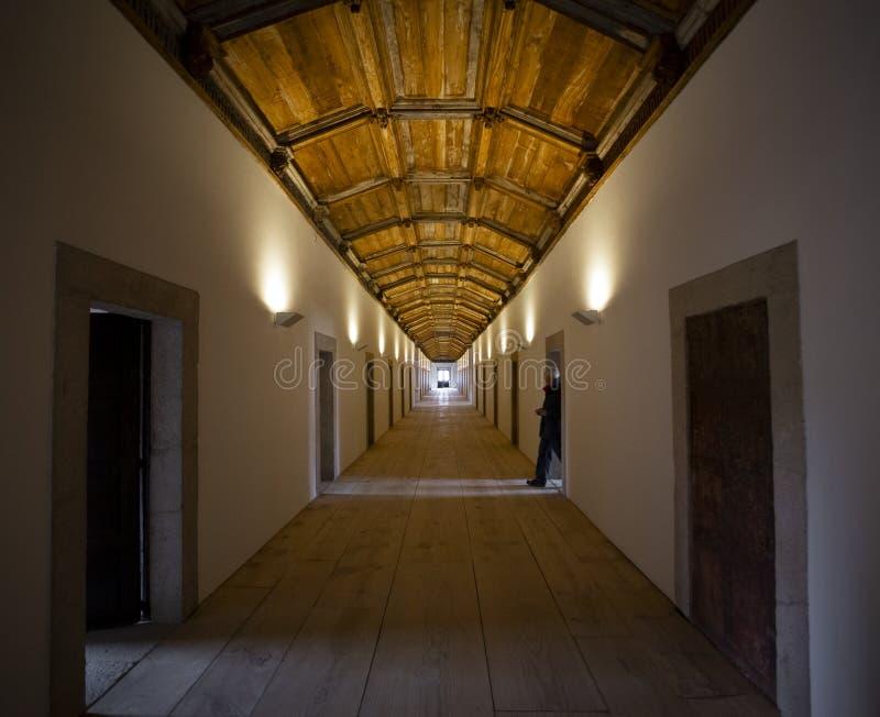 A long path inside the `Tibaes` Monastery in Braga, Minho. royalty free stock image
