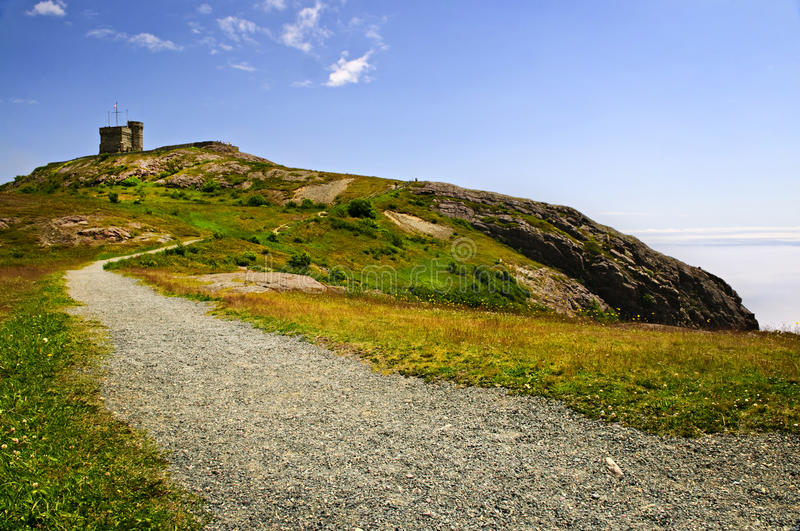 Long path to Cabot Tower on Signal Hill. Long gravel path to Cabot Tower on Signal Hill in Saint John's, Newfoundland stock photography
