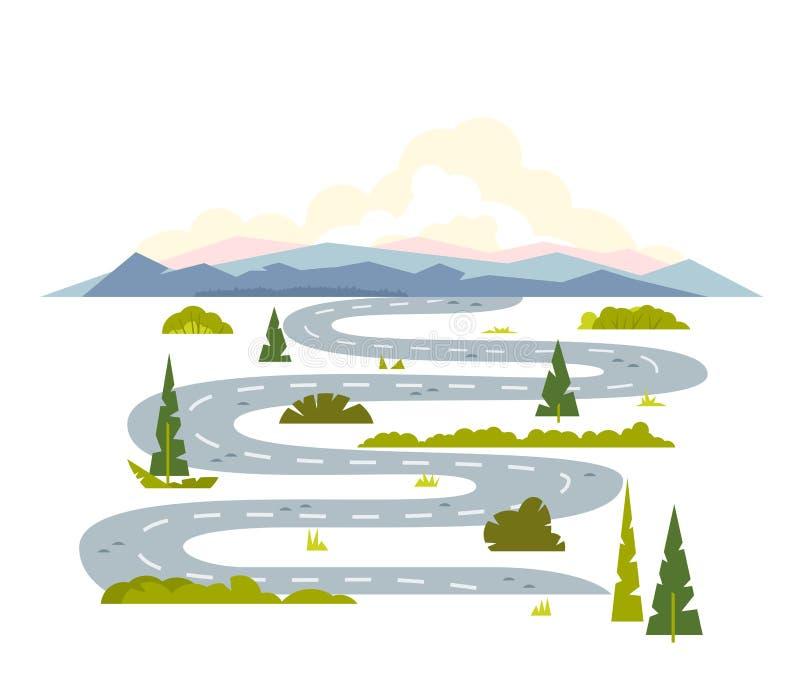Long paysage de route d'enroulement illustration libre de droits