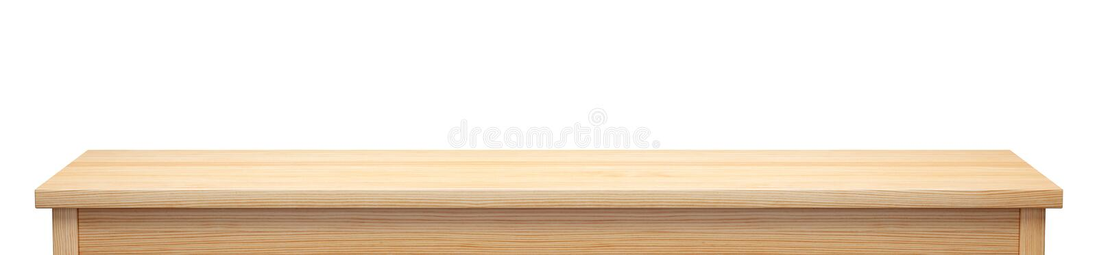Long pine wood tabletop isolated on white background, 3d rendering. Long pine wood tabletop isolated on white background, useful for display or product montage stock illustration