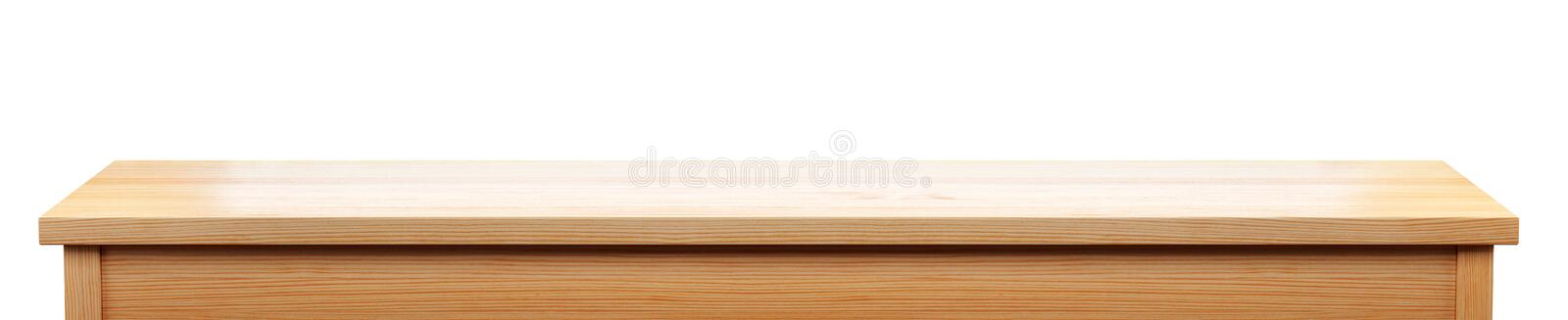 Long pine wood tabletop isolated on white background, 3d rendering royalty free illustration