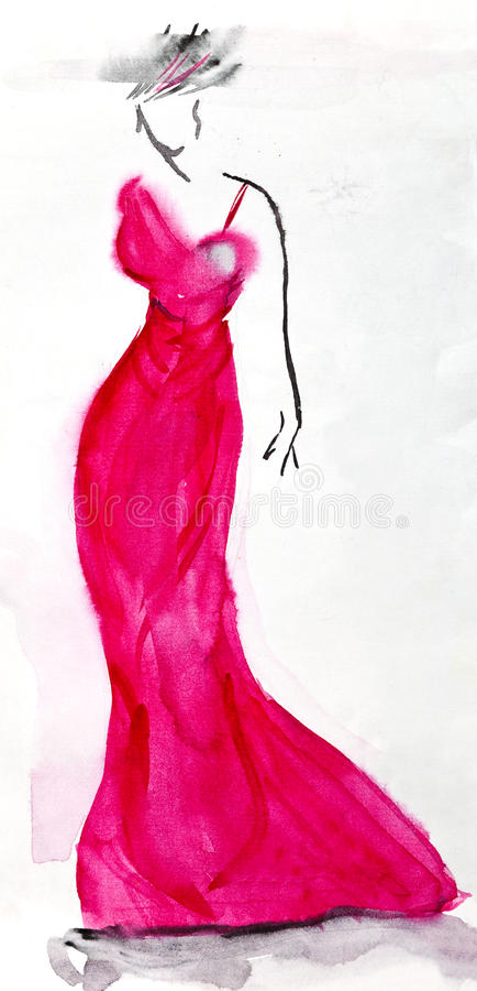 Long pink evening dress of 30th years. Fashion of 20th Century - long pink ladies evening dress of 30th years royalty free illustration
