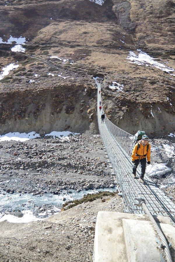 Long pont de pied de suspension au-dessus de vallée profonde photos libres de droits
