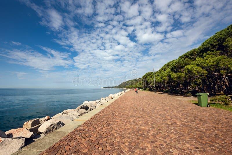 Promenade walkway of Barcola. Trieste, Italy stock photo