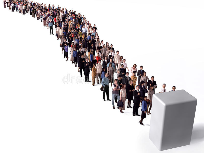 Long queue of people stock illustration