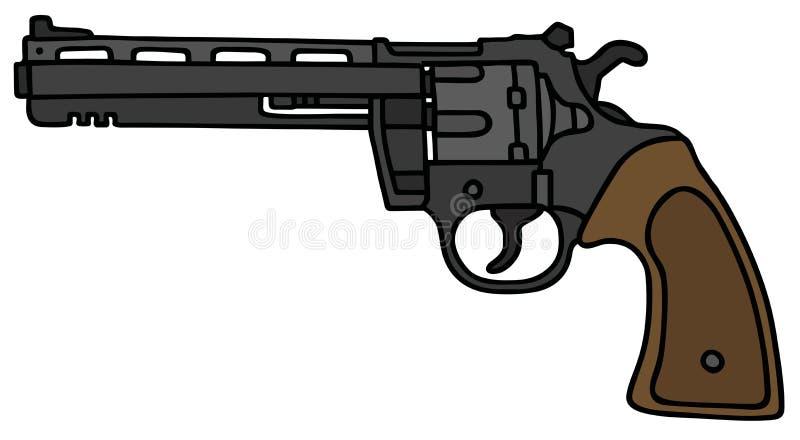 Long revolver. Blig long revolver, vector illustration, hand drawing stock illustration