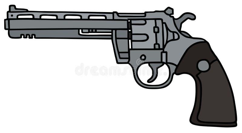 Long revolver. Long silver revolver, vector illustration, hand drawing vector illustration