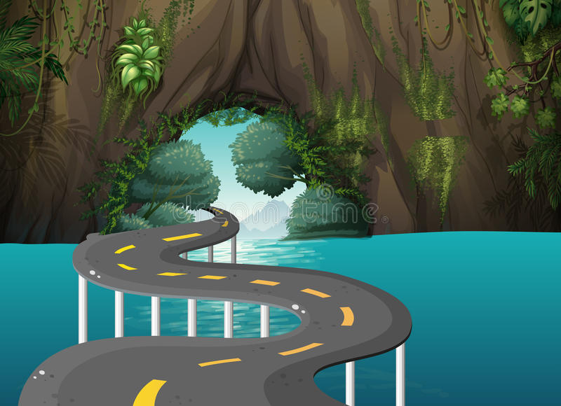 A long road at the cave stock illustration