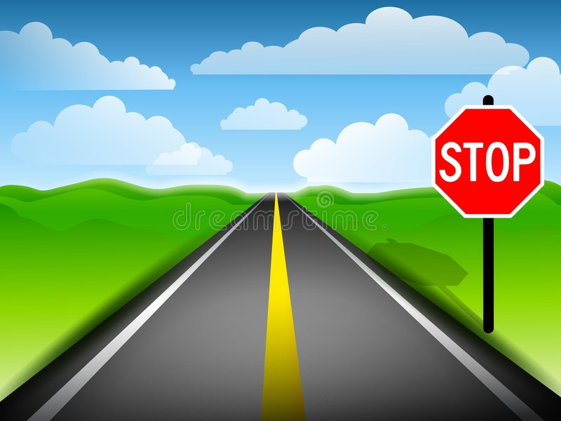 Long Road With Stop Sign. An illustration featuring a long road with stop sign, green grassy hills and blue sky with clouds royalty free illustration