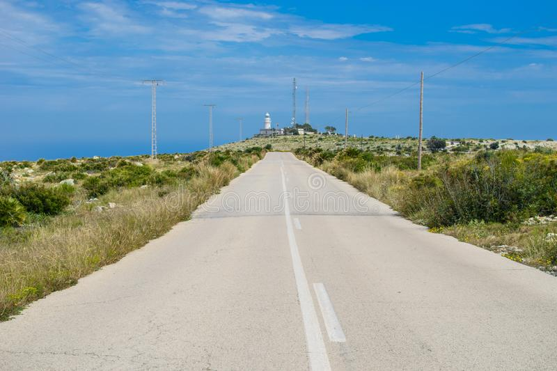 Long road to the lighthouse. stock images