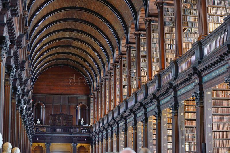 The Long Room in The Old Library, Trinity College, Dublin, Ireland royalty free stock image