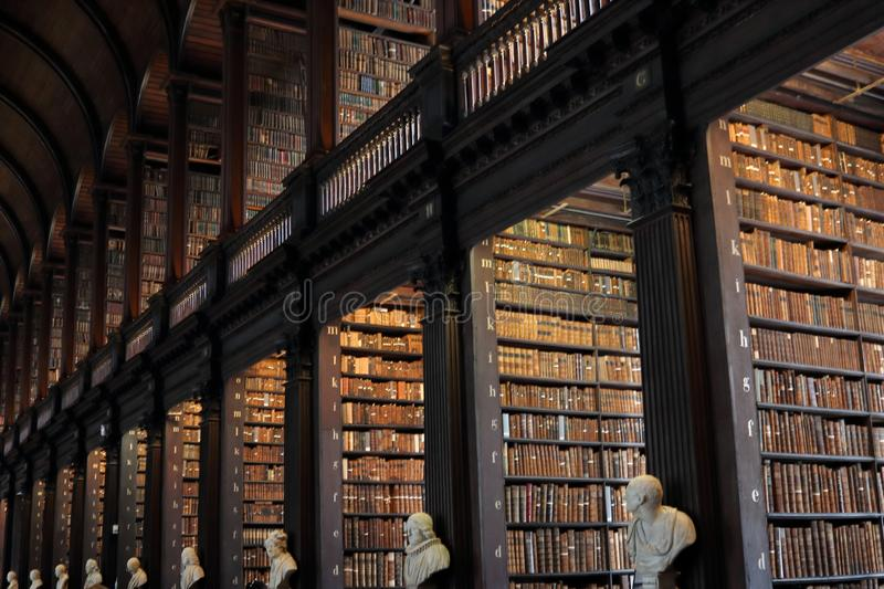 The Long Room in the Trinity College Library in Dublin stock images