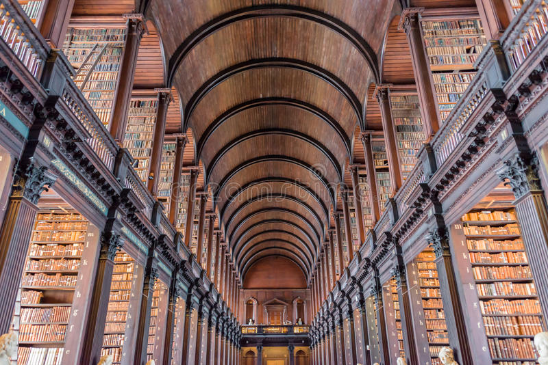 The Long Room in the Trinity College Old Library in Dublin Ireland stock photo