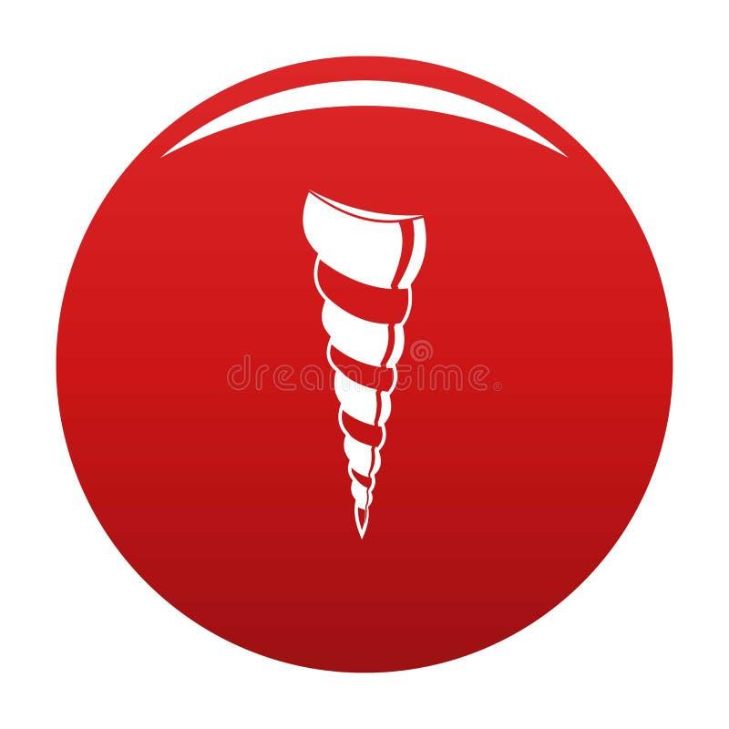 Long rouge de vecteur d'icône de coquille illustration stock