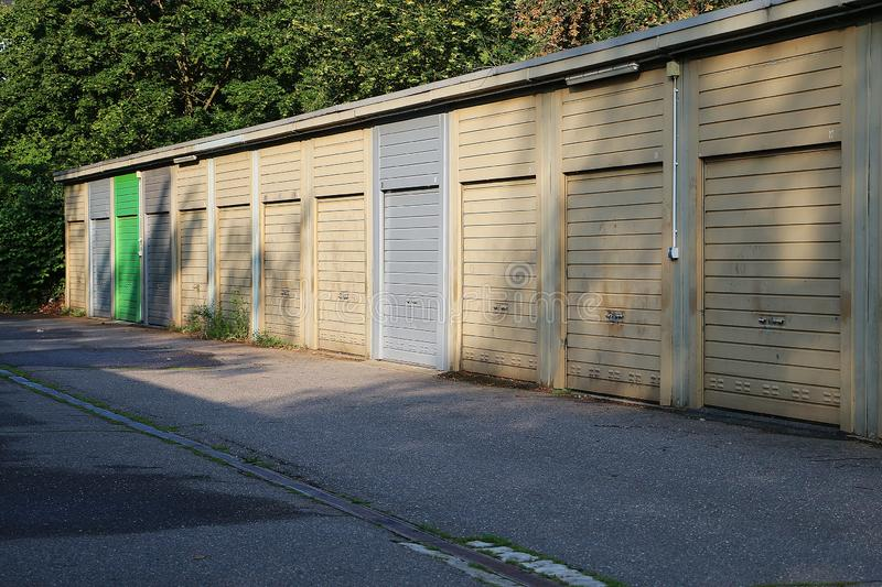 A long row of closed garages royalty free stock images