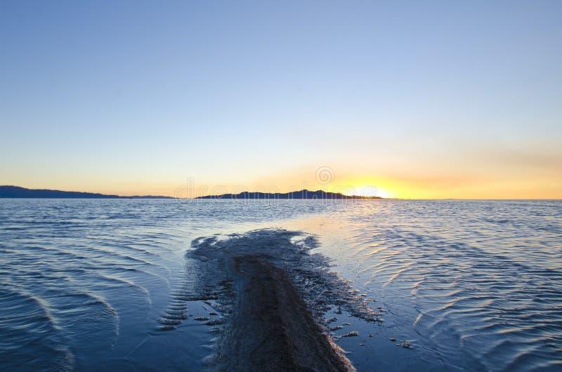 A long sand bar at the great salt lake stock photos