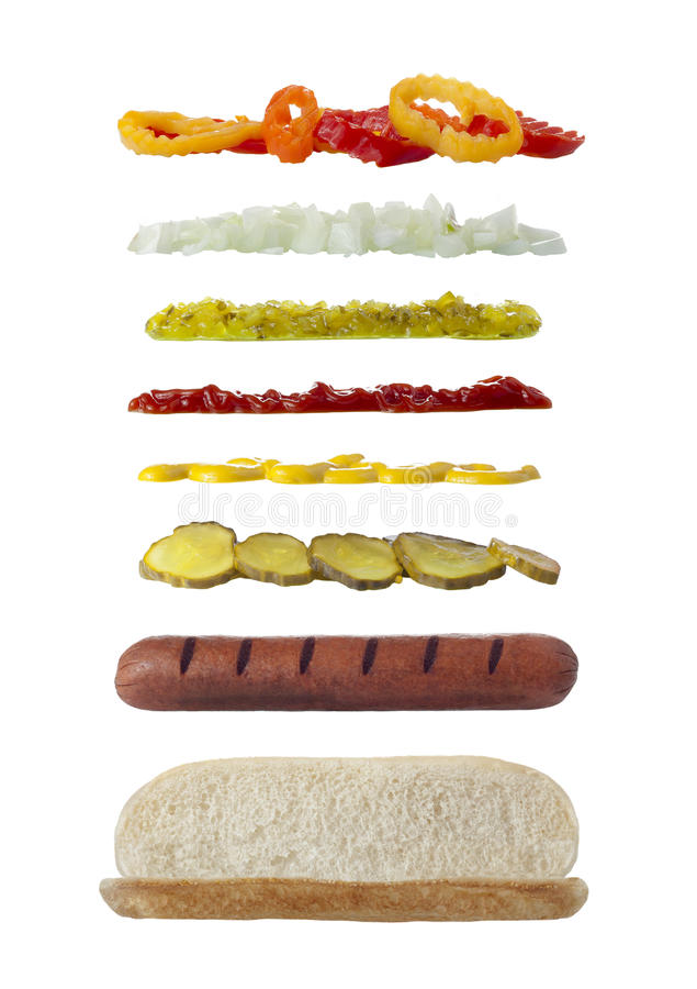 Long sandwich ingredients royalty free stock image